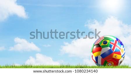 soccer ball flag of Russia blured soccer stadium 3d renderingsoc Stock photo © Wetzkaz
