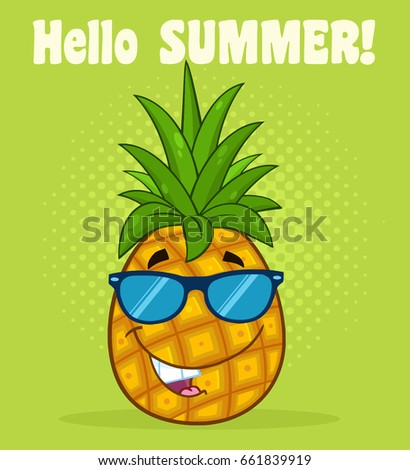 Smiling Pineapple Fruit With Green Leafs Cartoon Mascot Character Pointing To A Blank Sign Stock photo © hittoon