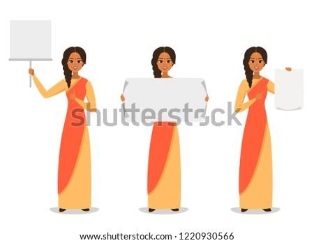 Índia mulher conselho apresentação desenho animado vetor Foto stock © NikoDzhi