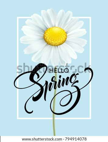 vector spring is coming illustration with beautiful blue flower on fresh green background floral de stock photo © articular