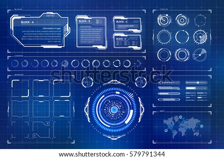 HUD futuristic user interface. Sci-Fi future technology display design. Business abstract background Stock photo © m_pavlov
