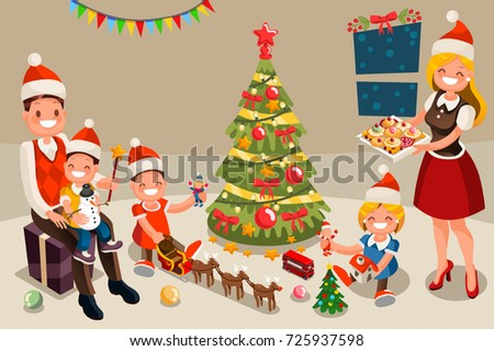 family portrait set vector parents children in santa hats happy family isolated cartoon illustr stock photo © pikepicture
