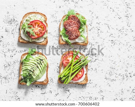 light healthy sandwiches with bread toasts soft cheese and freshly gathered organic radishes spina stock photo © artjazz