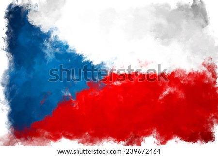 Hand Drawn National Flag Of Czech Republic Isolated On A White Background. Vector Sketch Style Illus Stock photo © garumna