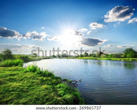 cena · cachoeira · campo · ilustração · primavera · grama - foto stock © colematt