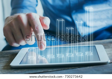 The businessman in business visualization and infographics concept Stock photo © Elnur