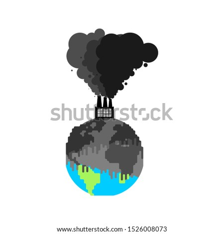 Pollution of earth. Plant and smoke. Black planet. Poisonous was Stock photo © MaryValery