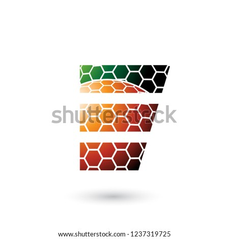 green and orange letter e with honeycomb pattern vector illustra stock photo © cidepix