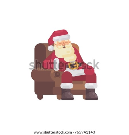 Tired Santa Claus sleeping in an armchair after delivering the p stock photo © IvanDubovik