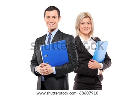 Image of two beautiful women smiling and holding folders, isolat Stock photo © deandrobot