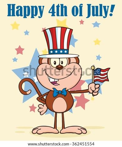幸せ 猿 愛国的な 米国 帽子 ストックフォト © hittoon