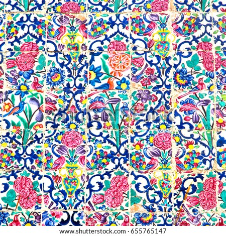 Colorful ceramic tile in the traditional Persian style on the wa Stock photo © boggy