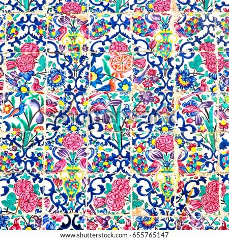 Színes kerámia csempe hagyományos stílus közelkép Stock fotó © boggy