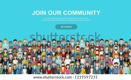 Join our team. Crowd of united people as a business or creative community standing together. Flat co Stock photo © makyzz