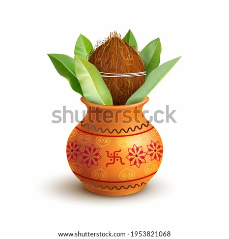 Wedding Kalash isolated on white. Hindu and Jain symbol of abundance, wisdom, and immortality. Vecto Stock photo © MarySan