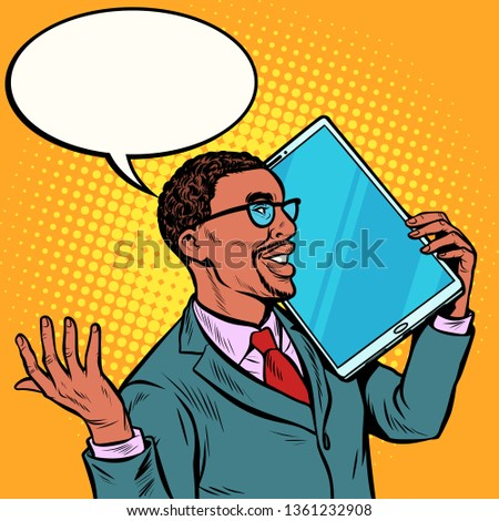 african Businessman talking on the phone with a very large screen, tablet. humor gadgets technique Stock photo © studiostoks