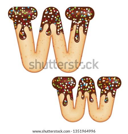 w · betű · fánk · betűtípus · fánk · ábécé · édes - stock fotó © balasoiu