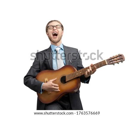 bel · homme · chanter · chanson · illustration · fête · visage - photo stock © makyzz