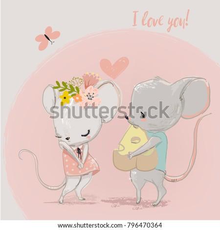 Animal mouse menina conjunto férias estresse Foto stock © toyotoyo