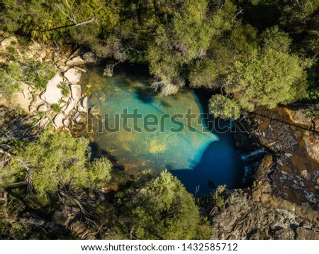 Aerial views of Nellies Glen a little waterfall and rock pool th Stock photo © lovleah