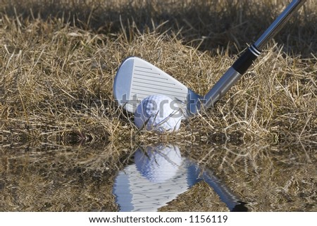 Chrome Golf Club Wedge Iron Hitting Golf Ball on White Backgroun Stock photo © feverpitch