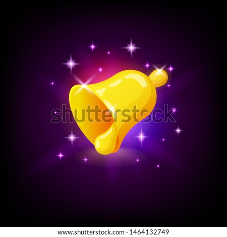 Golden bell with sparkles, slot icon for online casino or logo for mobile game on dark purple backgr Stock photo © MarySan
