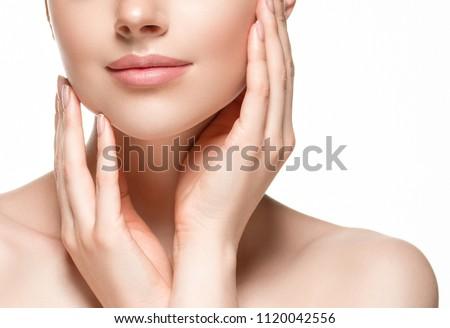 Jovem lábios rosados pescoço branco perfeito Foto stock © serdechny