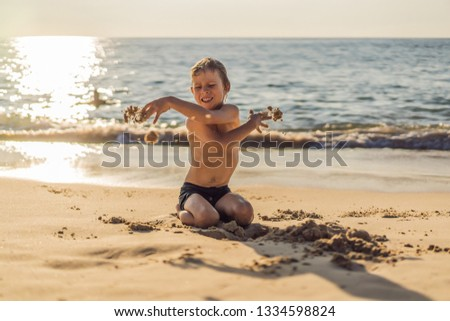The boy screams and freaks out on the beach, throws sand. Tantrum concept VERTICAL FORMAT for Instag Stock photo © galitskaya