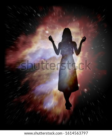 Astrology sign of Virgo or maiden with mystic aura in universe.  Stock photo © SwillSkill
