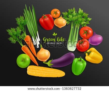 野菜 ベクトル 現実的な 茄子 トマト 玉葱 ストックフォト © frimufilms