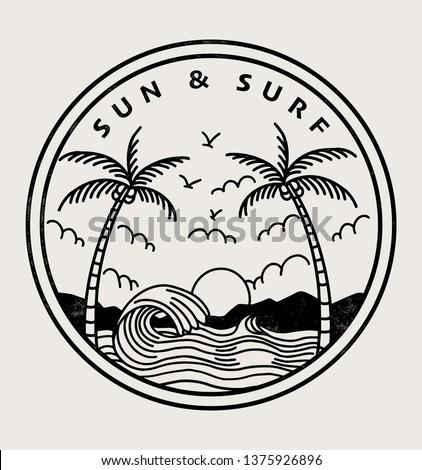 Sun and mountains retro vintage logo design. Printing and badge applique label t-shirts, jeans, casu Stock photo © kyryloff