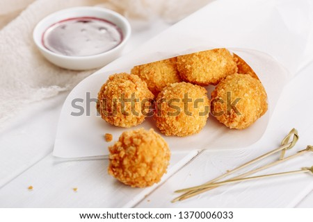 mozzarella with cranberry sauce, in background bread and flower Stock photo © jamesS