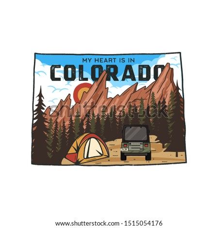 Vintage Colorado camp badge with tourist attractions. Retro style US state patch concept, print for  Stock photo © JeksonGraphics
