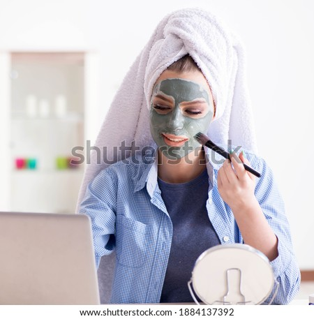 The beauty blogger applying mask and posting to internet blog Stock photo © Elnur