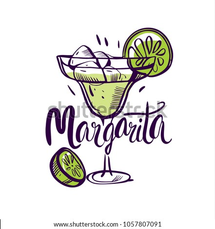 Luxury glass of Margarita cocktail with fresh lime on wooden background. Stock photo © DenisMArt