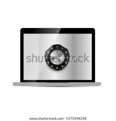 Lucido laptop metallico sicuro lock display Foto d'archivio © evgeny89