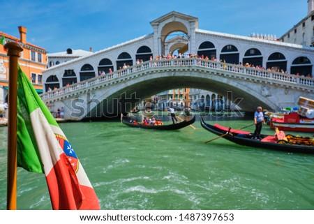 Italiaans vlag brug kanaal Venetië Italië Stockfoto © dmitry_rukhlenko