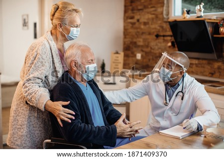 Black man with caucasian woman in medical masks call to fight with virus, stop crossed out sign Stock photo © robuart