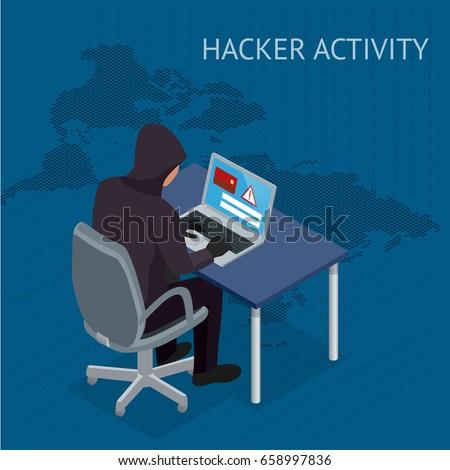 Computador hackers código binário isométrica ícone vetor Foto stock © pikepicture