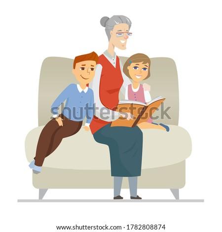 Büyükanne okuma torunlar dizayn stil örnek Stok fotoğraf © Decorwithme