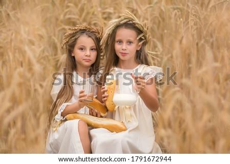 Nina pan leche cesta cereales campo Foto stock © dolgachov