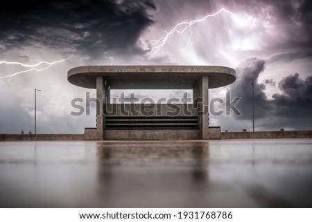 sea landscape with coast view storm sky with lightning panoram stock photo © pilgrimego