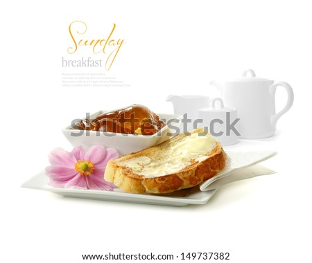 breakfast table with toast and orange marmelade isolated Stock photo © juniart