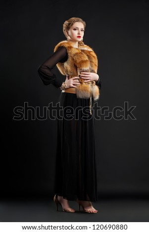 Mooie vrouw jas vos bont opera mantel Stockfoto © gromovataya
