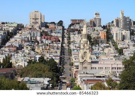 Photo stock: église · colline · appartement · bâtiments · San · Francisco · tour