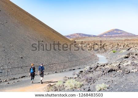 volcanic stone formations in Timanfaya National Park in Lanzarot Stock photo © meinzahn