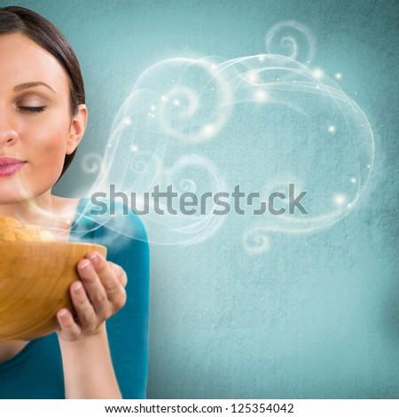 gyönyörű · nő · tart · forró · friss · zab · sütik - stock fotó © hasloo
