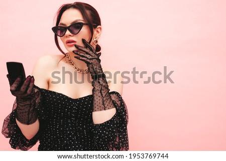 Beautiful sexy young woman posing mirror Stock photo © lunamarina