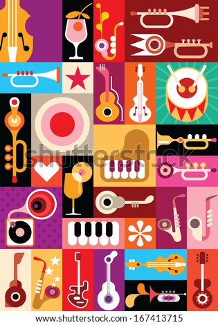 Musical instruments tile Stock photo © lirch