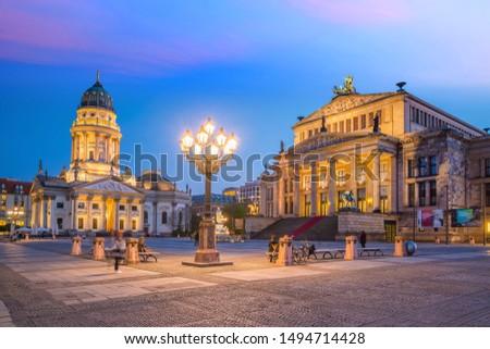 German Cathedral on Gendarmenmarkt Square in the Evening, Berlin Stock photo © anshar